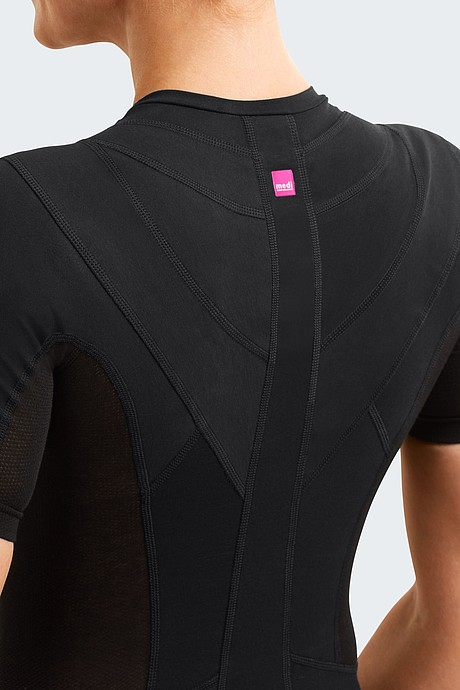 medi Posture Plus Comfort:Supporting panels: Inelastic tension panels excercise traction for postural realignment.